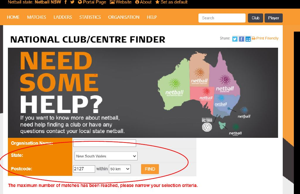 Screenshot of MyNetball websites with Club Finder
